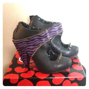 Tuk purple zebra print spike heels by Tuk